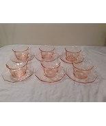 Vintage Pink Depression Glass 6 person Tea Set (cups and saucers)  - $99.99