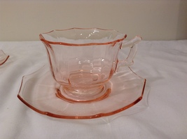 Vintage Pink Depression Glass 6 person Tea Set (cups and saucers)  image 3