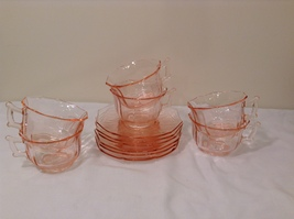 Vintage Pink Depression Glass 6 person Tea Set (cups and saucers)  image 8