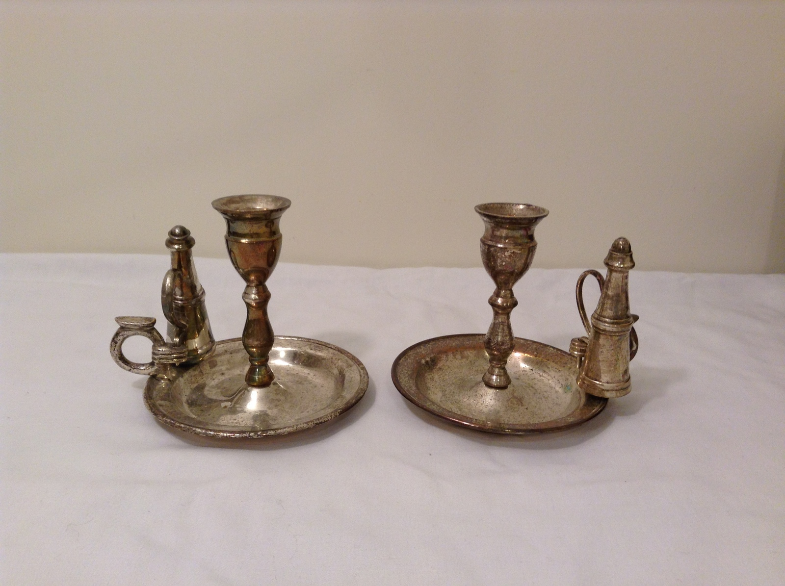 Metal Silver Plated Candle Holders with Snuffers Set of 2 Natural Patina