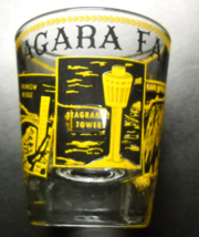 Niagara Falls Shot Glass Clear Glass Yellow and Black Photo Style Illust... - $6.99