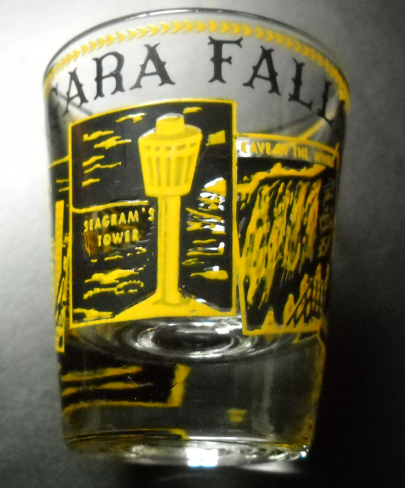 Niagara Falls Shot Glass Clear Glass Yellow and Black Photo Style Illustrations
