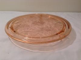 Vintage Pink Depression Glass Cake Plate / Stand Floral Design - Dark Pink image 3