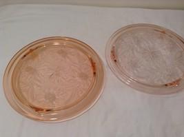 Vintage Pink Depression Glass Cake Plate / Stand Floral Design - Dark Pink image 8