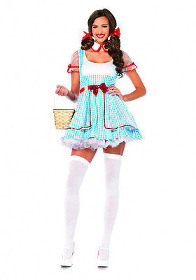 Blue Gingham Dorothy Wizard Of Oz Dress Adult Halloween Costume White Checkered