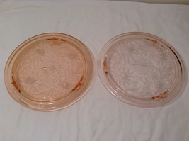 Vintage Pink Depression Glass Cake Plate / Stand Floral Design - Light Pink image 8