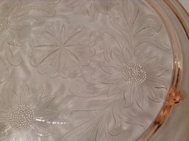 Vintage Pink Depression Glass Cake Plate / Stand Floral Design - Light Pink image 3
