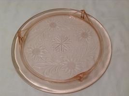 Vintage Pink Depression Glass Cake Plate / Stand Floral Design - Light Pink image 4
