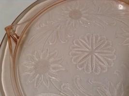 Vintage Pink Depression Glass Cake Plate / Stand Floral Design - Light Pink image 5