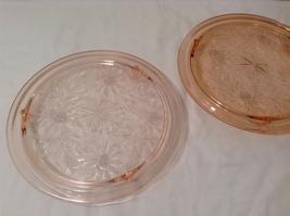 Vintage Pink Depression Glass Cake Plate / Stand Floral Design - Light Pink image 7