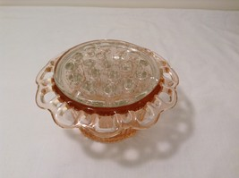 Vintage Pink Depression Glass Flower Vase Lace Edge with Frog Holder 19 stems