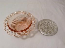 Vintage Pink Depression Glass Flower Vase Lace Edge with Frog Holder 19 stems image 3