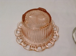 Vintage Pink Depression Glass Flower Vase Lace Edge with Frog Holder 19 stems image 6