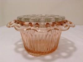 Vintage Pink Depression Glass Flower Vase Lace Edge with Frog Holder 19 stems image 9