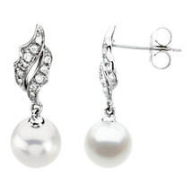 14k White Gold 7mm Freshwater Cultured Pearl & 1/10 CTW Diamond Earrings - $705.86