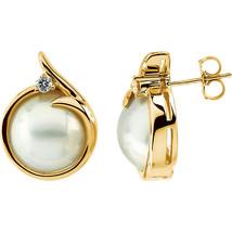 14k White Gold 12.5mm Mabé Cultured Pearl & Diamond Earrings - $1,070.18
