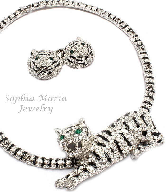 Unique stunning evening tiger crystal necklace set 3D animal black clear choker
