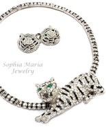 Unique stunning evening tiger crystal necklace set 3D animal black clear... - $48.50