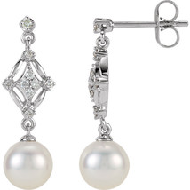 14k White Gold 1/6 CT Diamond & 7mm Freshwater Cultured Pearl Dangle Ear... - $876.14