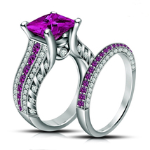 14K White Gold Plated 2Ct Amethyst & Sim Diamond Silver 925 Bridal Ring Set - $99.99