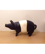 Vintage Decorative Hand Carved Real Wood Pig Figurine Black / White - $49.99