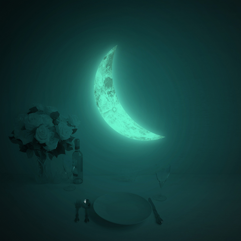 crescent night light luna crescent glow in the dark moon moon glow in the dark moonlight wall decal sticker 11 8