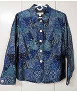 Coldwater Creek womens Peplum Jacket size PM petite M blue patchwork - $44.61