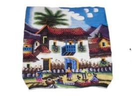 Alpakaandmore Peruvian Handmade Woven Rug Village Theme 40 X 40 - $123.75