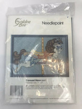 Counted Cross Stitch Kit Carousel Horse Baby Kids Needlepoint Canvas Blue - $9.89