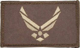 AIR FORCE USAF LOGO 2 X 3  EMBROIDERED BROWN  MILITARY PATCH WITH HOOK LOOP - $15.33