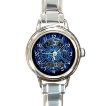 Ladies Round Italian Charm Watch US Fire Fighter Blue Shield Gift model ... - $11.99