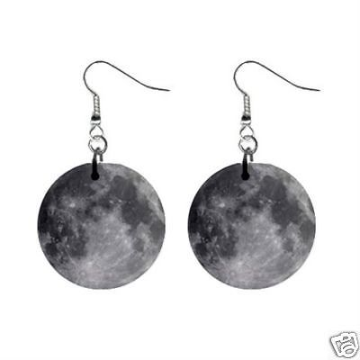 "Full Moon 1"" Round Button Earrings New"