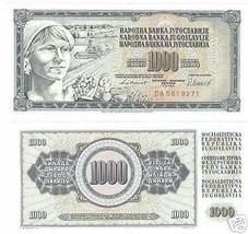 Jugoslavia Grande 1,000 Dinara Awesome Banconota Fior di Conio - $3.22