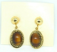 JCPENNEY Faux Tigers Eye Glass Gold Tone Dangle Earrings Vintage 1960s - $24.74
