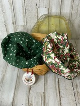 """Longaberger 2000 Christmas Basket with Protector & 2 Fabric Liners Hex 8"""" - $30.39"""