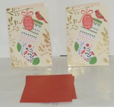 Hallmark XV 411 4 Red Green Stocking Christmas Card Package 2 image 1
