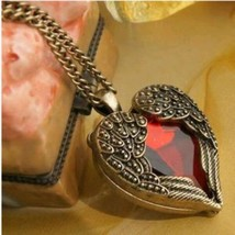 Red Gem Heart Wings Necklace **L@@K** >> Combined Shipping << (5 - $3.95