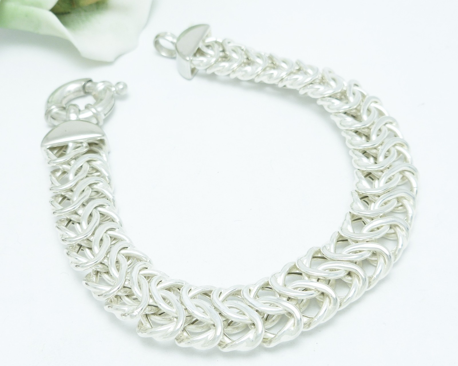Sterling Silver 7.5 inch Fancy Woven Bracelet