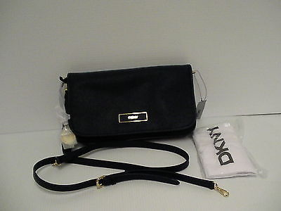 DKNY Donna Karan saffiano leather cross body bag ink color retail $225