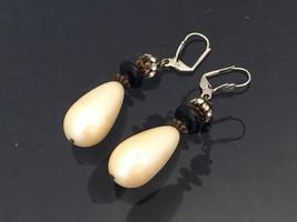 Vintage Jewelry Faux Pearl & Rhinestone Dangle Earrings  - $12.00