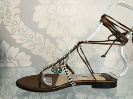 JIMMY CHOO Bronze Leather Strappy Sandals w/ Beaded Front Sz 35.5/US 5.5 $525 image 3