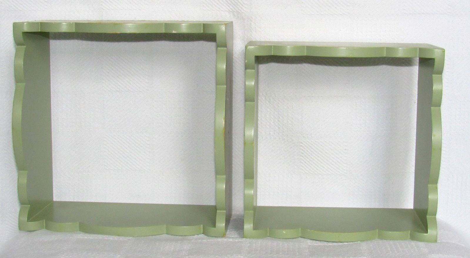Set of 2 Wood Shadow Box Wall Shelves Square with Scalloped Edges Sage Green