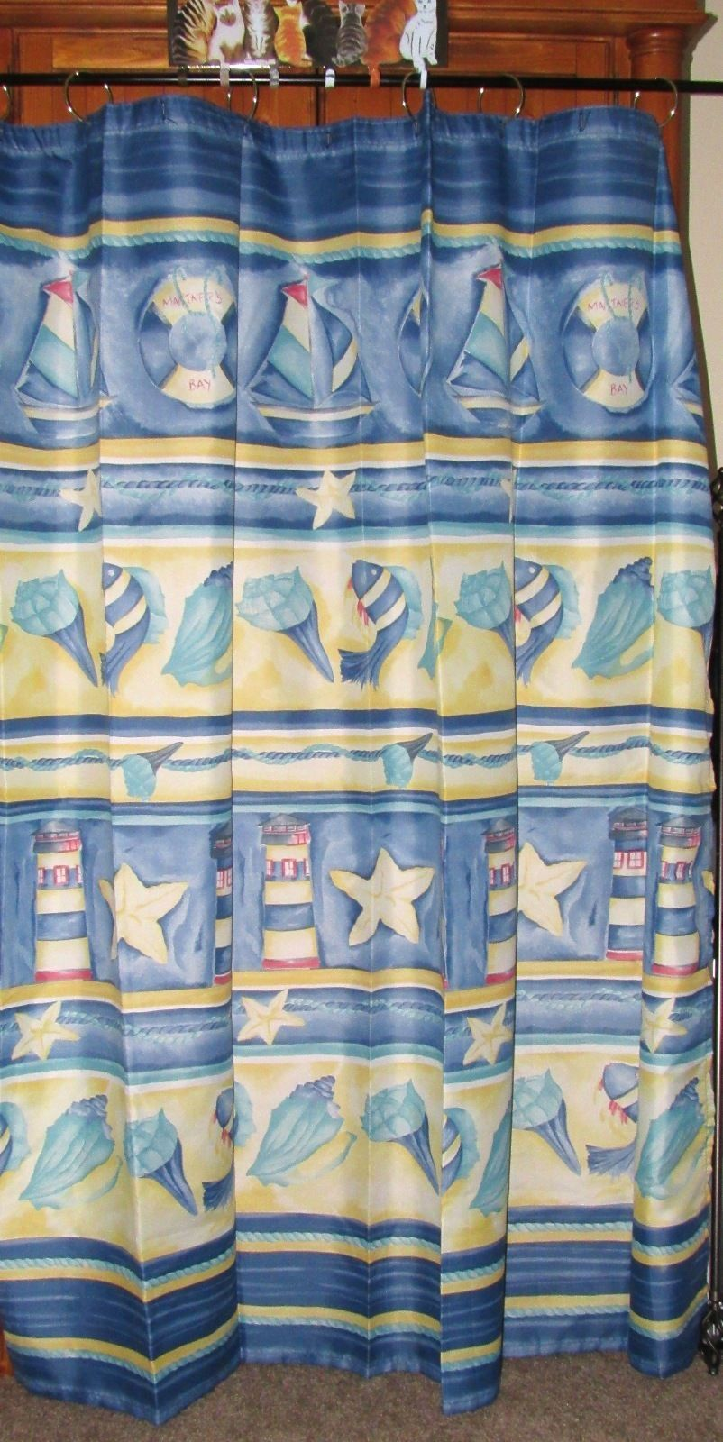 """Springs Home Shower Curtain """"Nautical Pattern"""" 69"""" x 69"""""""