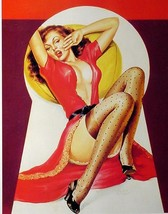 Peter Driben Pin Up Girl Poster Print Art In Red Lingerie & Polka Dot Stockings! - $4.99