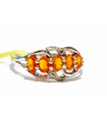 ORANGE MEXICAN FIRE OPAL OVAL 5-STONE FILIGREE BAND RING, 925, SIZE 7, 0... - $40.50
