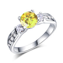 925 Sterling Silver Wedding Engagement Ring 1.25 Ct Yellow Canary Lab Diamond - $99.99