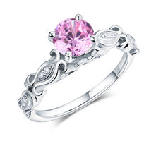 925 Sterling Silver Engagement Ring Vintage Style 1.25 Carat Pink Lab Di... - $99.99