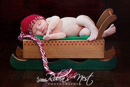 NEWBORN BABY BOY RED CANDY CANE  PHOTO PROP HAT - $12.00