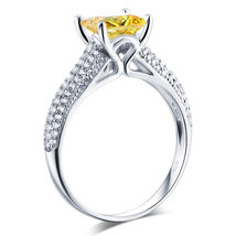 Sterling 925 Silver Bridal Engagement Ring Yellow Canary 1.5 Ct Princess... - $129.99