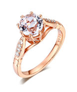 14K Rose Gold Wedding Engagement Ring 1.2 Ct Topaz and 0.1 Ct Natural Di... - $389.99